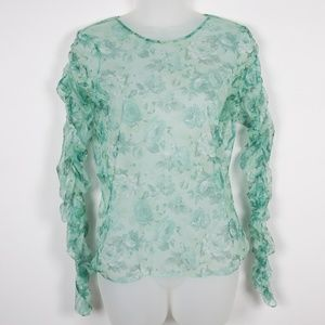 NWT Zara Mint Green Floral Blouse
